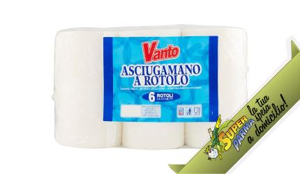 """ASCIUGAMANI di CARTA """"doppio velo"""" 6 rotoli (60 metri) – Vanto"""