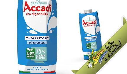 """LATTE SENZA LATTOSIO """"Accadì"""" 1% di grassi uht 500 ml – Granarolo"""
